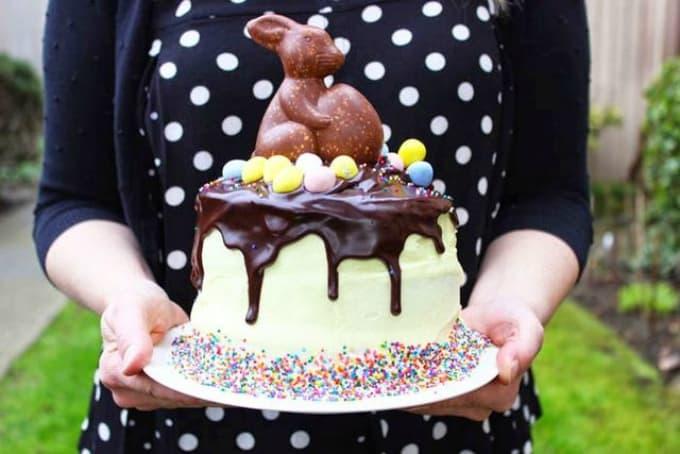 chocolate bunny rainbow drip cake