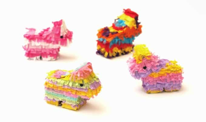 miniature tissue paper piñatas