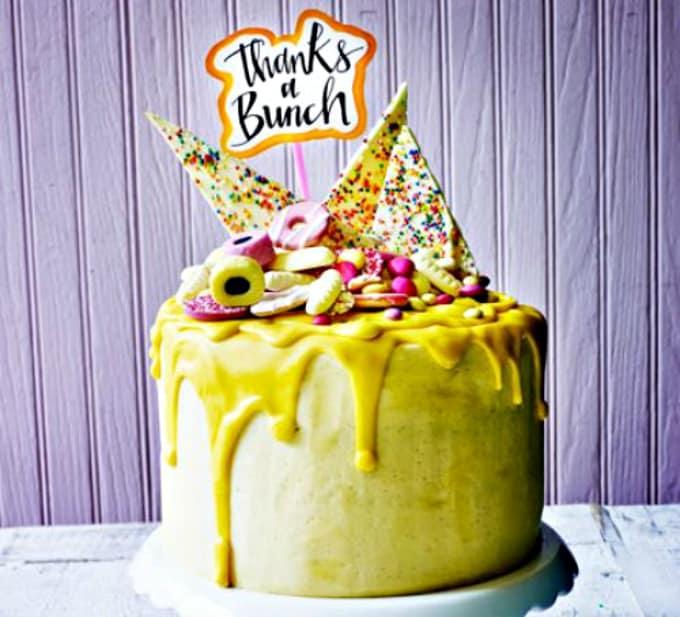 banana drip custard cake