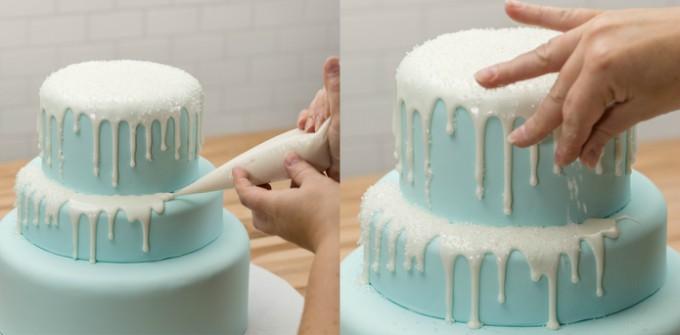 three tier frozen birthday drip cake