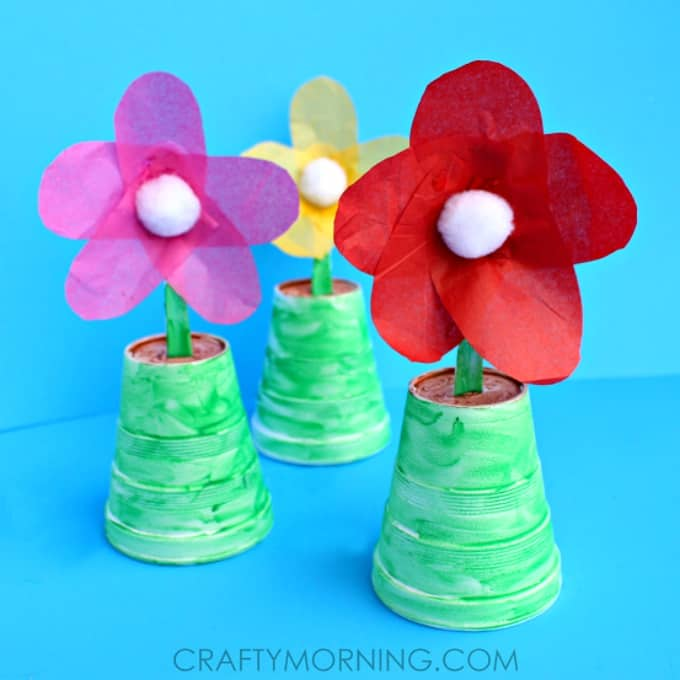 Tissue Paper Craft Ideas For Kids Part - 16: Tissue Paper Flowers