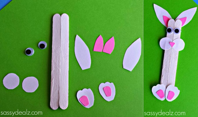 popsicle stick bunny craft