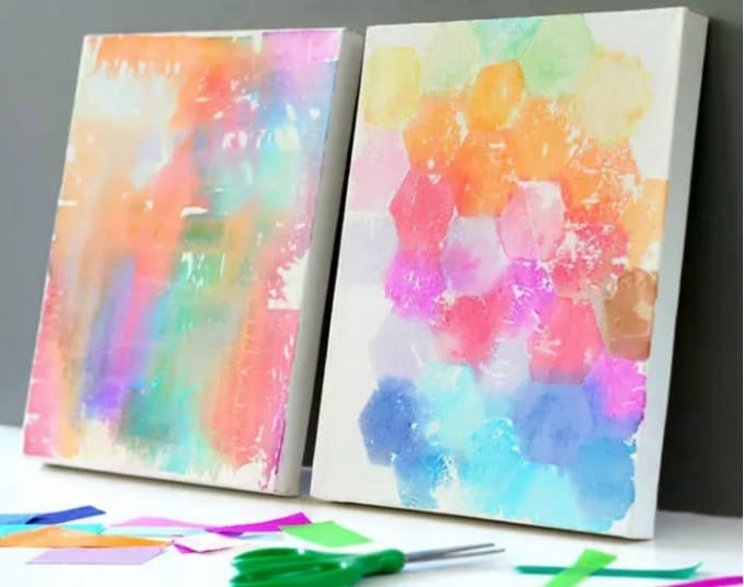 Tissue Paper Craft Ideas For Kids Part - 28: Tissue Paper Painted Canvas