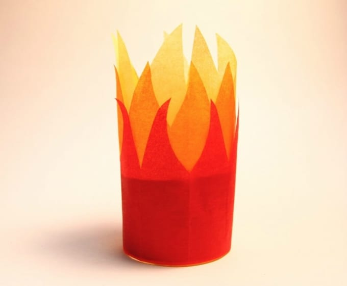 fake candle with tissue paper