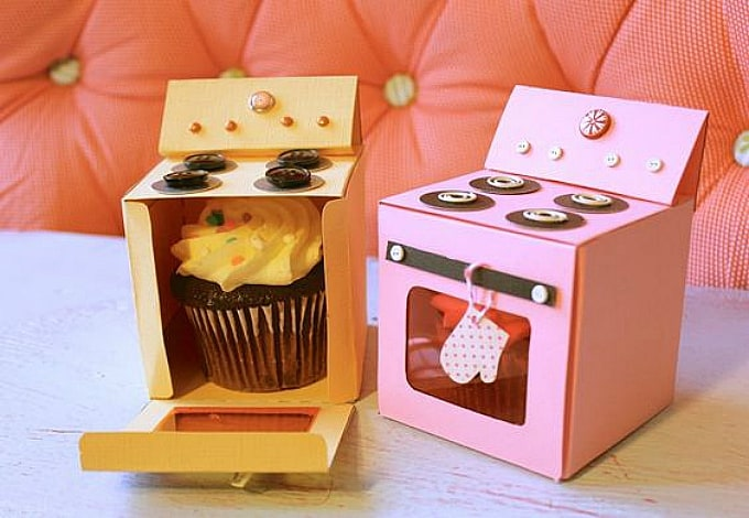 DIY oven cupcake box templates