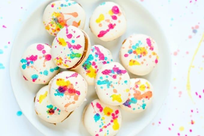 splatter painted french macarons recipe