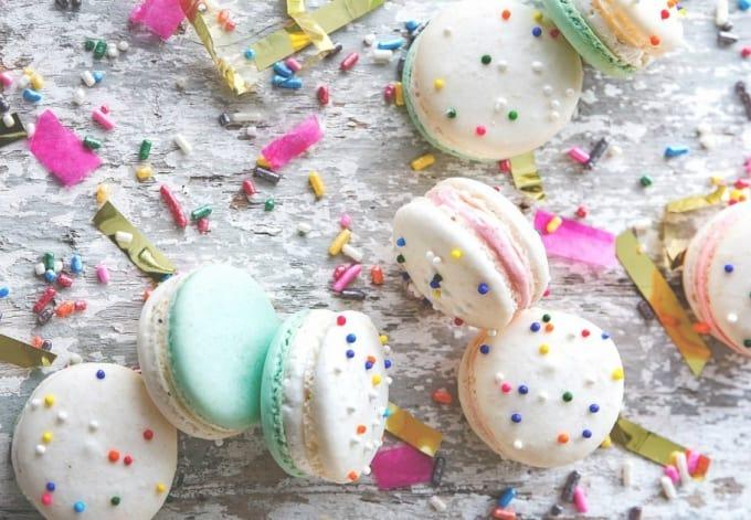 cake batter macarons