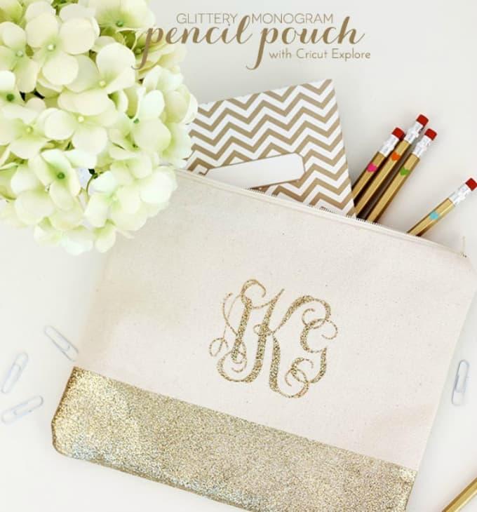 glittery monogram pencil pouch