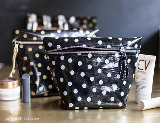 diy oil cloth makeup bags