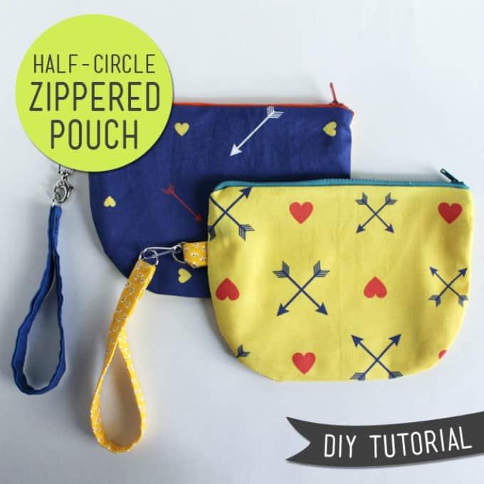 half-circle zipper pouches