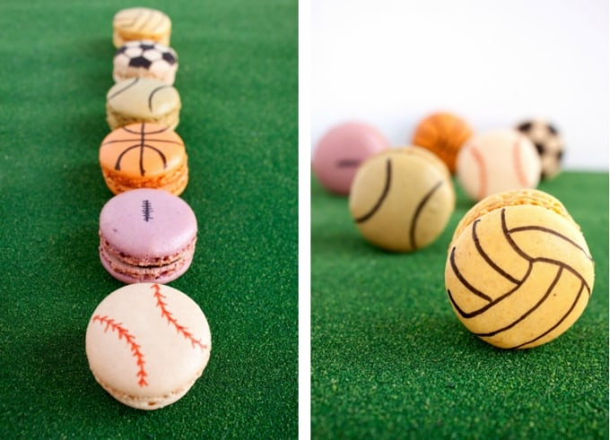 sports-themed macarons