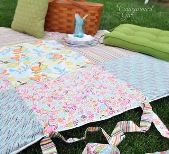 patchwork roll-up picnic blanket