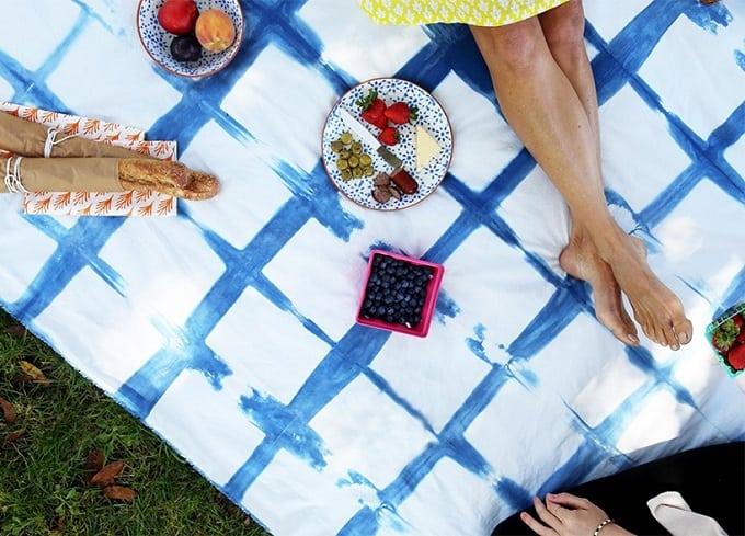 indigo dyed picnic blanket