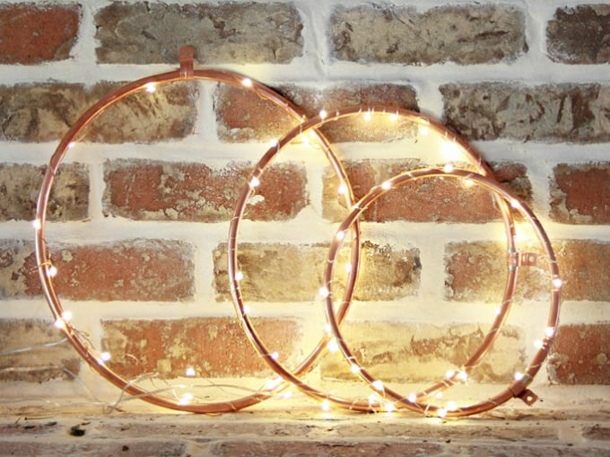 diy copper lighted wreaths