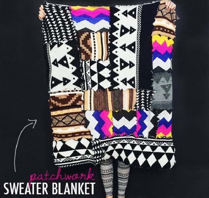 patchwork sweater picnic blanket