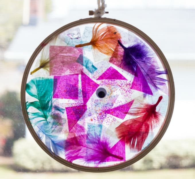 tissue paper suncatcher embroidery hoops