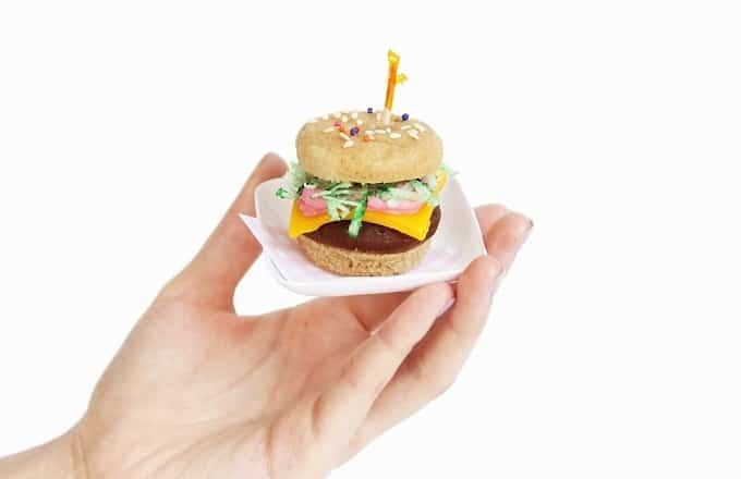 mini donut hamburgers