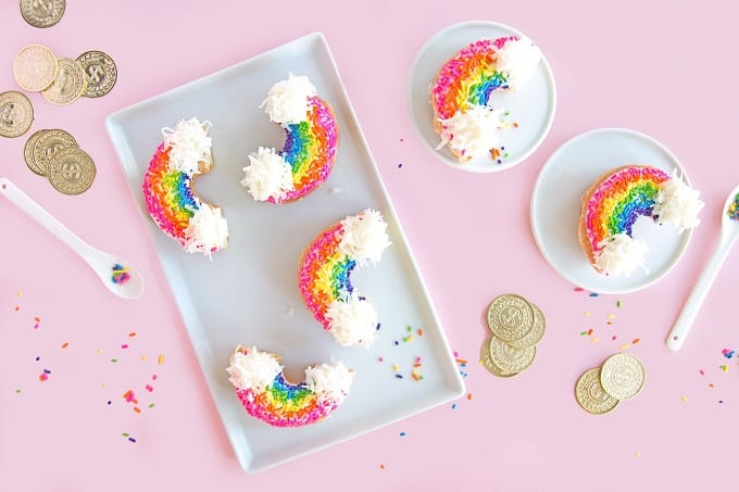 st. patricks day rainbow donuts