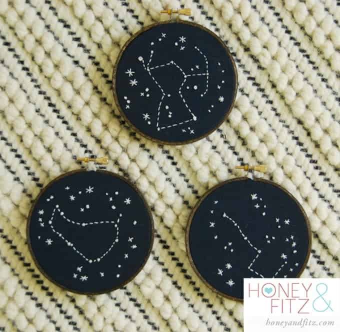 diy constellation embroidery hoop art