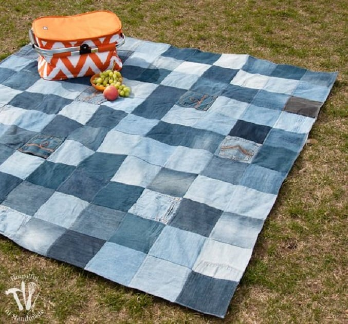up-cycled jeans picnic blanket