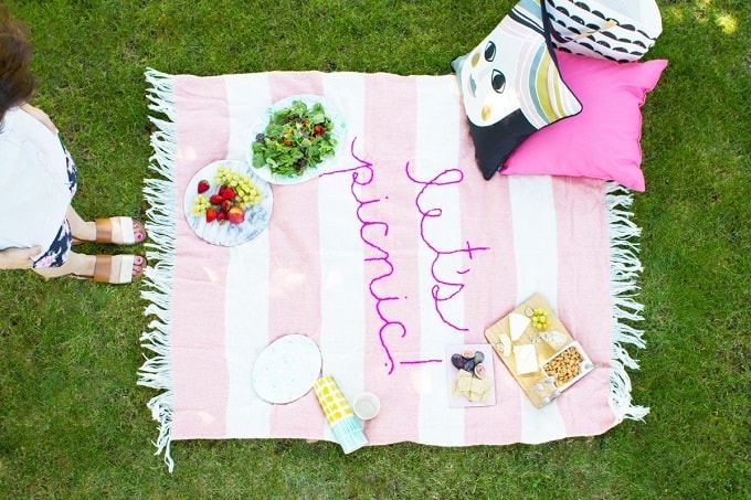 giant embroidery picnic blanket