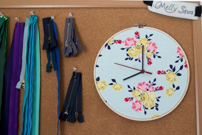 embroidery hoop clock sewing room project