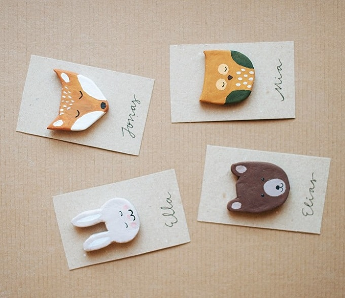 clay animal brooches