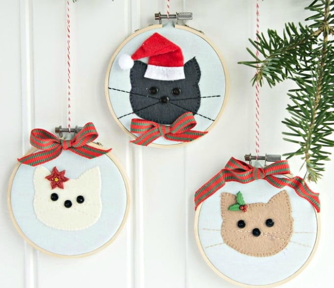cat embroidery hoop christmas ornaments