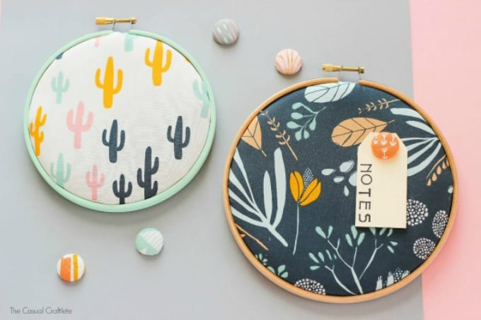 embroidery hoop cork memo board and thumbtacks