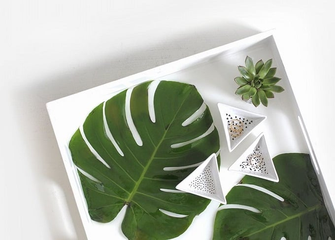 Monstera Palm Leaf Resin Tray