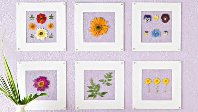 Pressed Flower Wall Art - We compiled a list of 39 other DIY pressed flower ideas for you to make | Coolcrafts.com