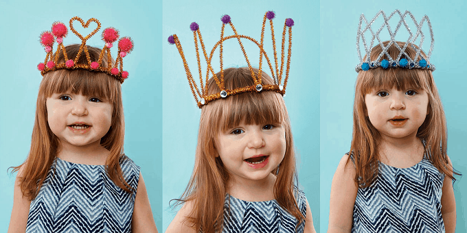 Pipe Cleaner Crowns - Check out our list of 39 other DIY crown and tiaras that you can create for your next party | Coolcrafts.com