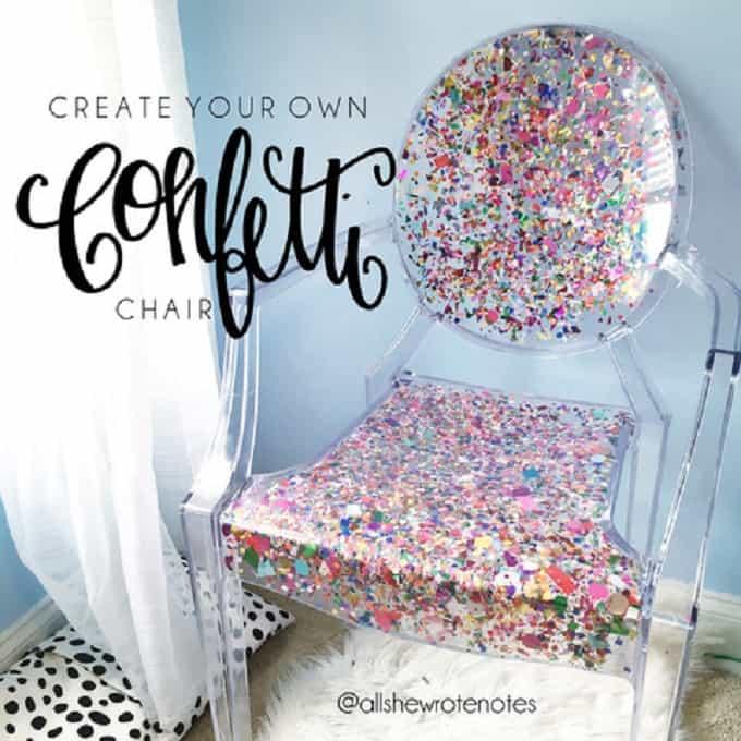 DIY confetti chair