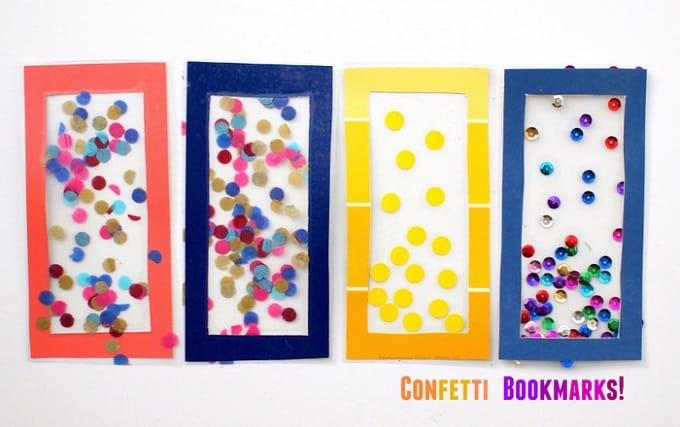 DIY confetti bookmarks