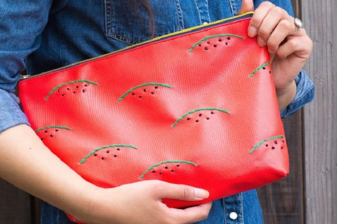 Watermelon Embroidered Clutch