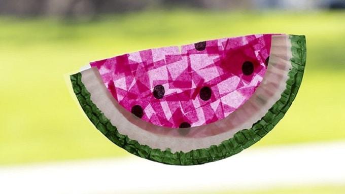 Paper Plate Watermelon Suncatchers