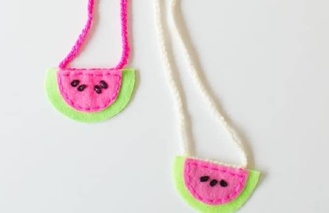 Watermelon Felt Necklaces