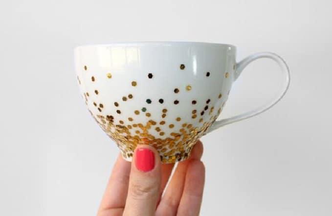 DIY gold confetti mug