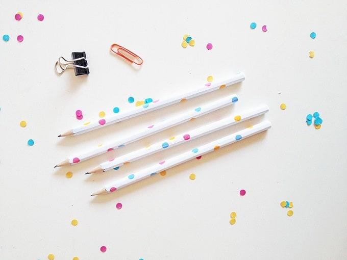 DIY confetti pencils