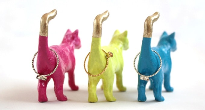 Ring Holders from plastic cat figurines
