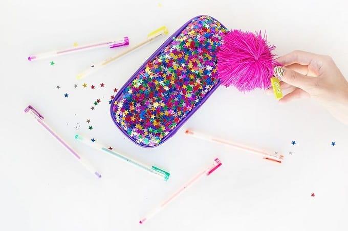 DIY confetti pencil case
