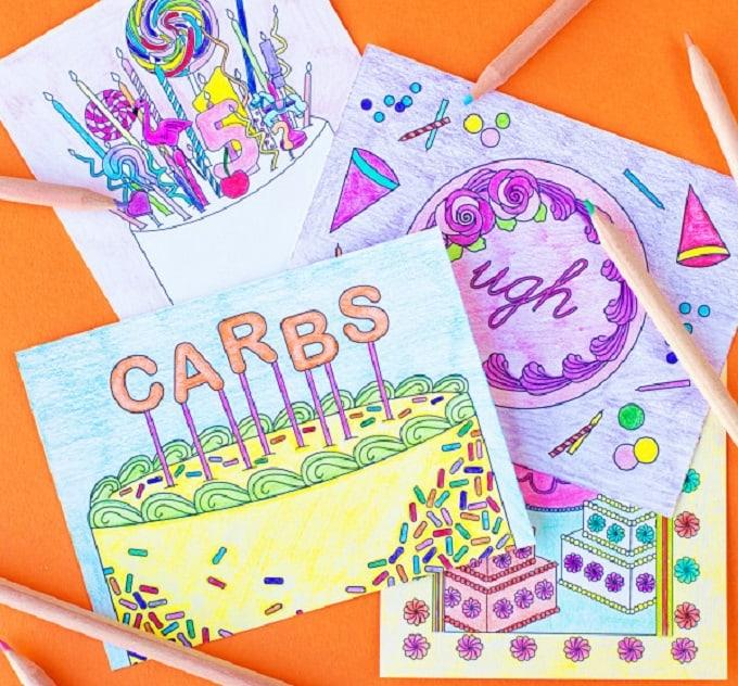 Printable Coloring Cake Postcards
