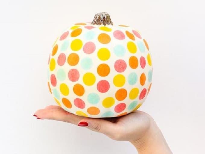 confetti-adorned pumpkin