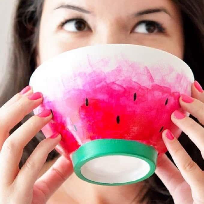 Watercolor Watermelon Tea Cup