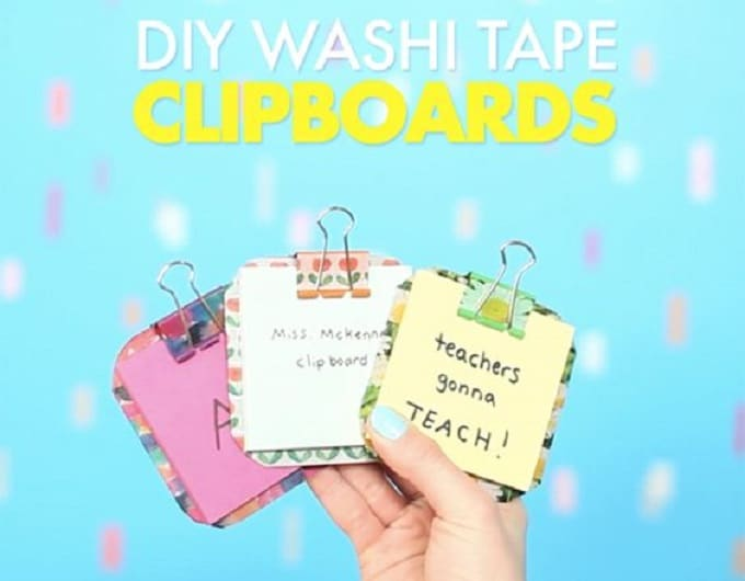 Washi Tape to decorate clipboards