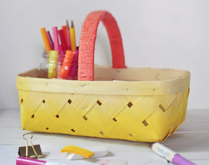 Ombre Yellow Straw Basket