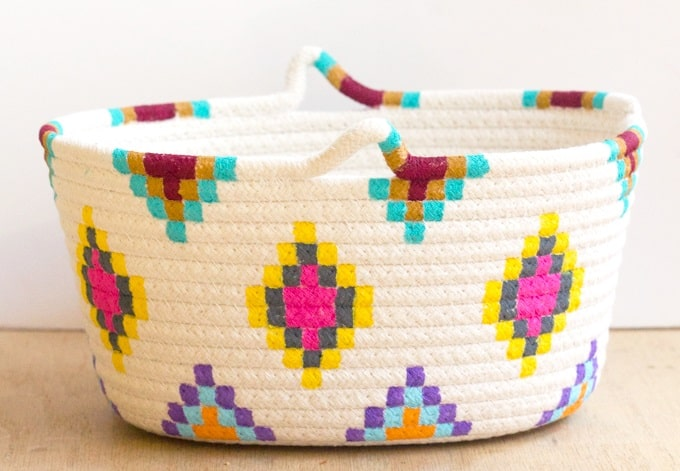 Kilim Inspired Painted Basket