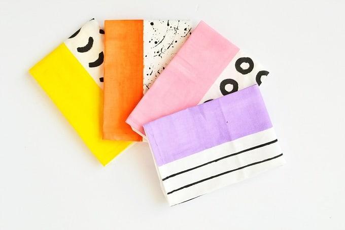 DIY color block napkins