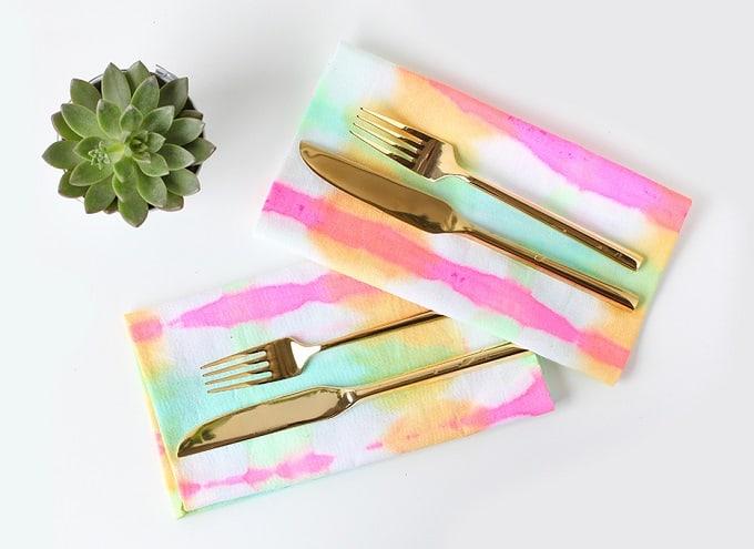 DIY tie-dyed watercolor napkins