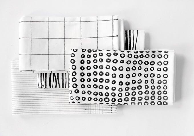 black and white printed napkins
